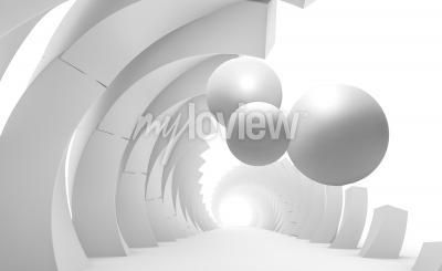 Fototapet 3d wall tunnel with flying balls 3d rendering