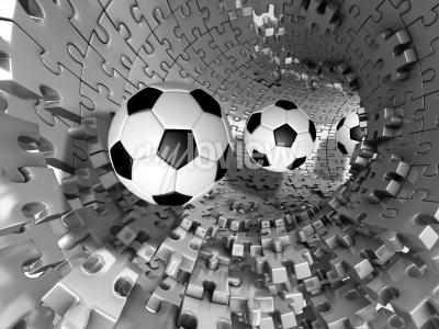 Fototapet 3d footballs in the tunnel