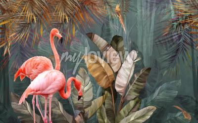 Fototapet Flamingo background design with tropical palm and banana leaves