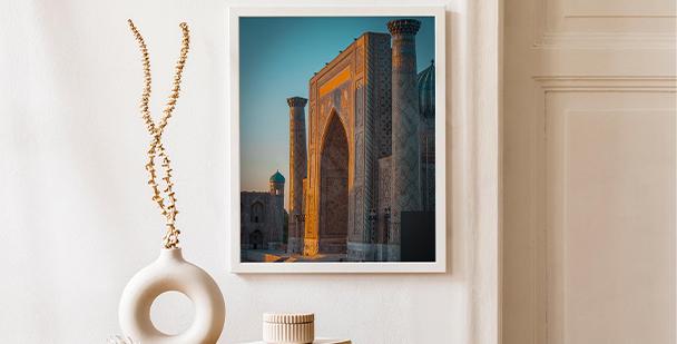 Affisch arkitektur i Uzbekistan