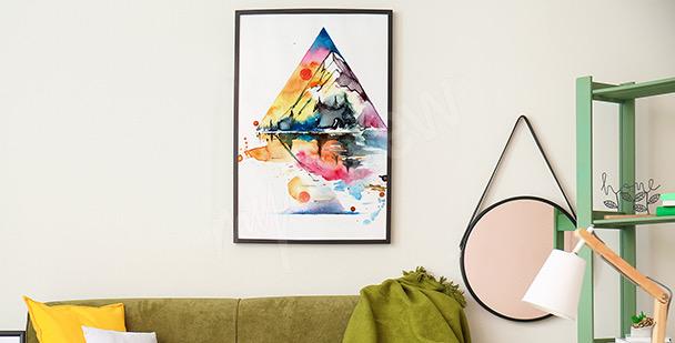 Affisch med berg i akvarell