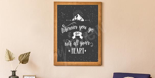 Affisch med berg och skog