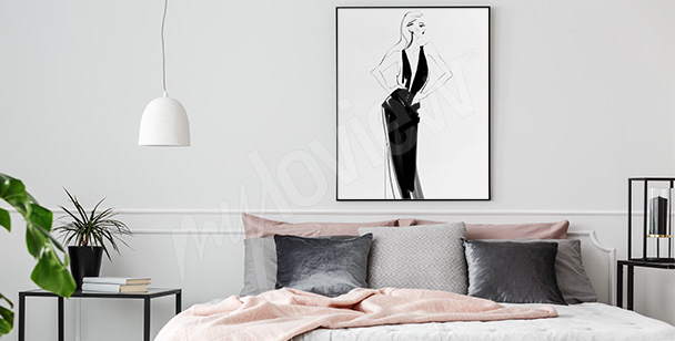 Affisch med elegant kvinna