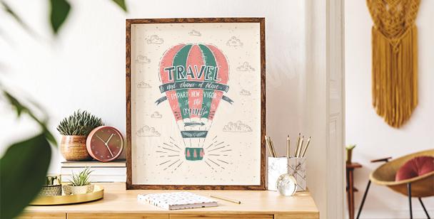 Affisch med färgglad ballong