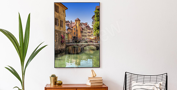 Affisch med färgglad stad