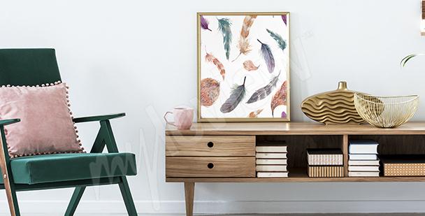 Affisch med färgglada fjädrar