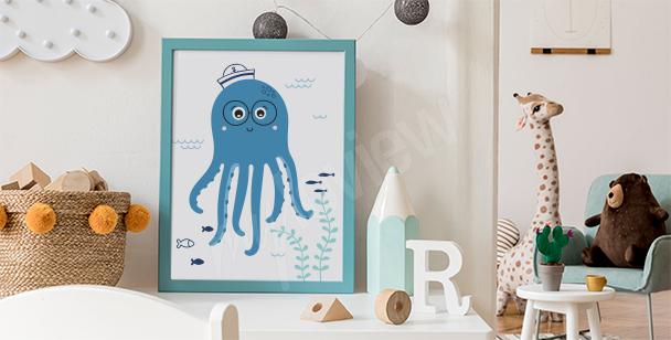 Affisch med glad bläckfisk