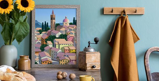 Affisch med italiensk arkitektur