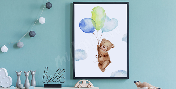 Affisch med nalle och ballonger