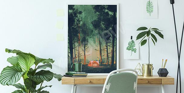 Affisch med skog om natten