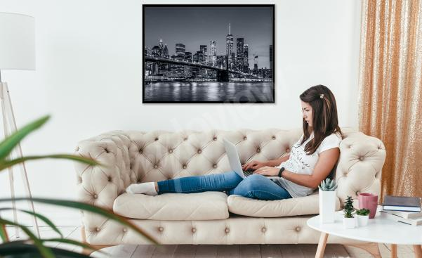 Affisch med stad till vardagsrummet