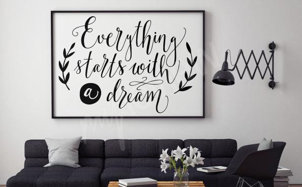 Affisch med svartvita undertexter för vardagsrummet