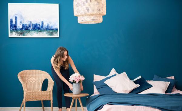 Affisch stad till sovrummet