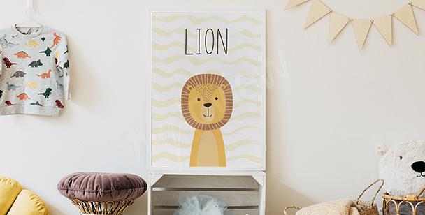 Affisch till pojkrummet - lejon