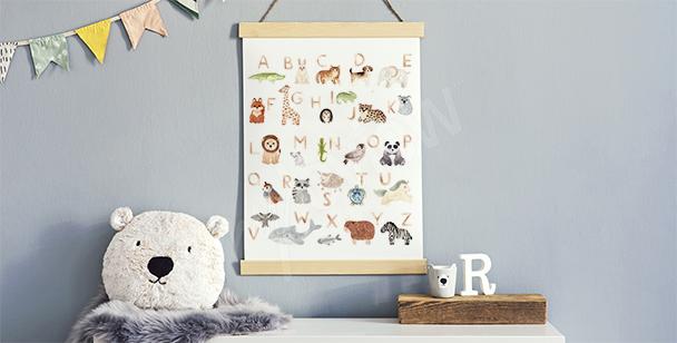 Affisch till pojkrummet med alfabet