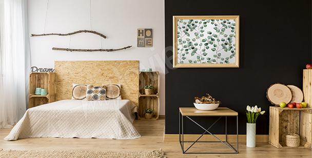 Affisch till sovrummet med blad