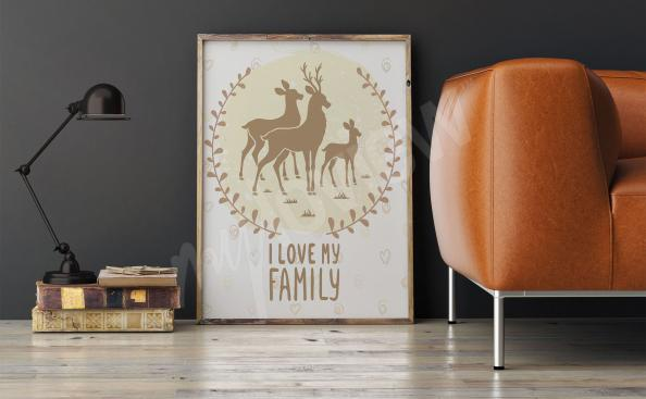 Affisch till vardagsrummet med rådjur