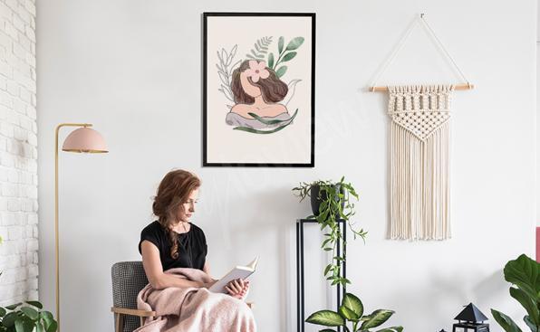 Akvarell affisch med en kvinna