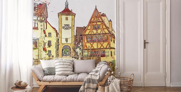 Akvarellfärgad fototapet med byggnader