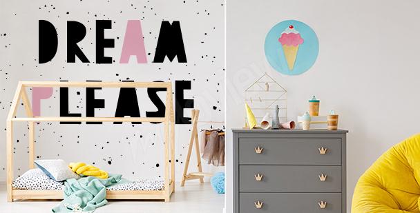 Barnslig fototapet med typografi