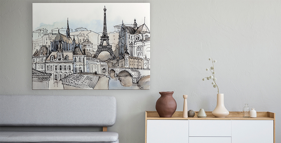 Affisch panorama av Paris