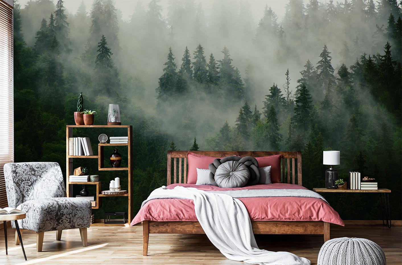 Fototapet med en skog i dimma