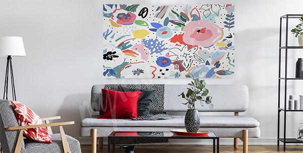 Blommig canvastavla till vardagsrum