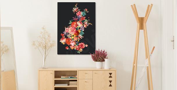 Blommig tavla på en mörk bakgrund