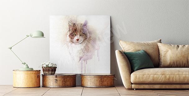 Canvastavla akvarell med pälsdjuret
