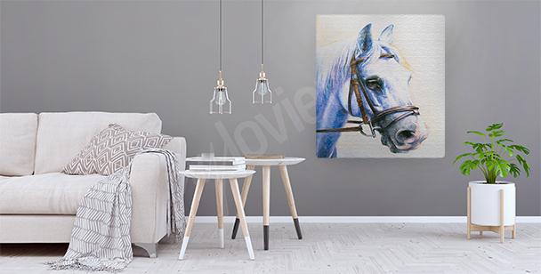 Canvastavla av en häst med betsel