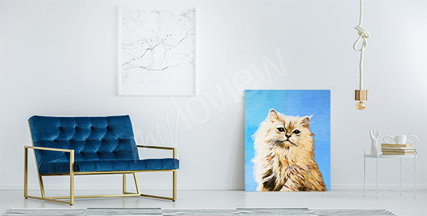 Canvastavla av en orange katt