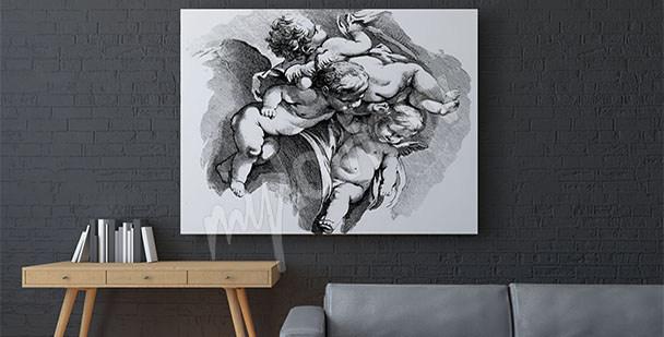 Canvastavla barock keruber