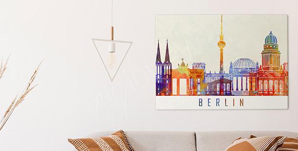 Canvastavla Berlin i akvarell
