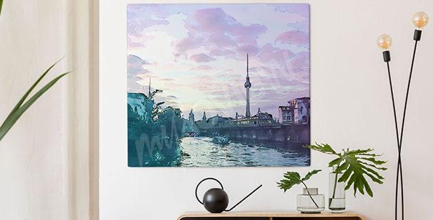 Canvastavla Berlin med solnedgång