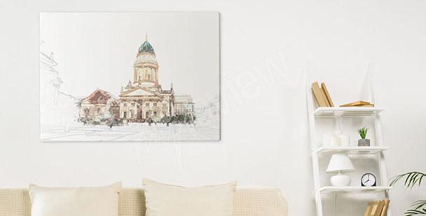 Canvastavla Berlin och katedral