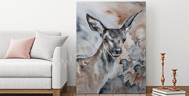 Canvastavla djur - akvarell