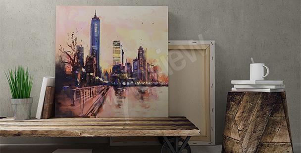 Canvastavla en stad i solnedgången