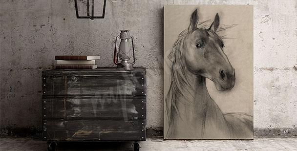 Canvastavla hästens huvud