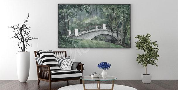 Canvastavla i vardagsrum med bro