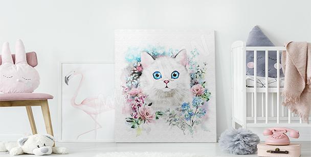 Canvastavla katt i rosor