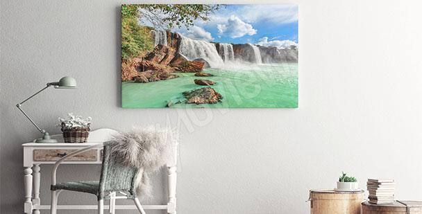 Canvastavla landskap vattenfall