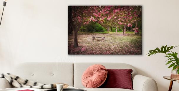 Canvastavla med blommande trädgård