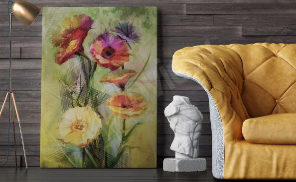 Canvastavla med bukett blommor