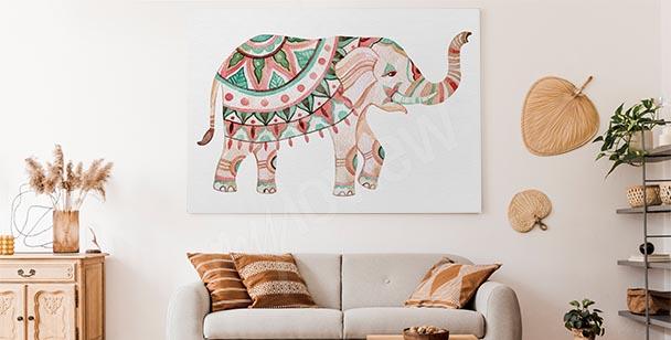 Canvastavla med dekoration och elefant