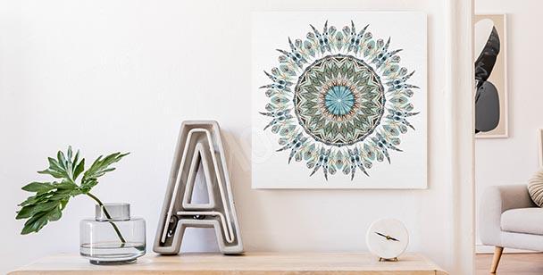 Canvastavla med dekoration och mandala