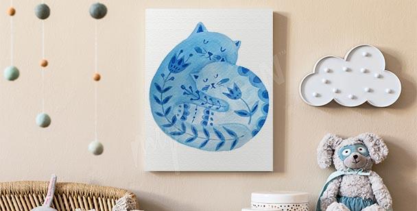 Canvastavla med dekorationer med katt