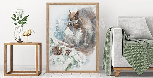Canvastavla med ekorre i skogen