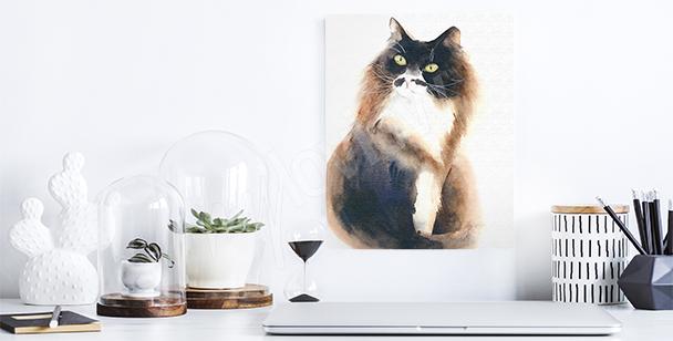Canvastavla med en fluffig katt
