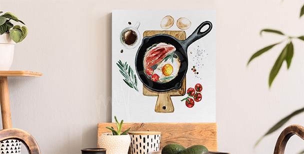 Canvastavla med frukost på stekpannan