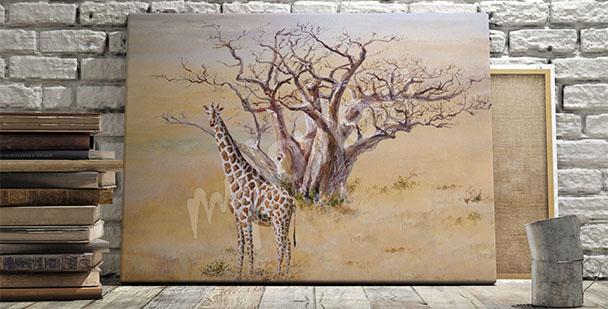 Canvastavla med giraff
